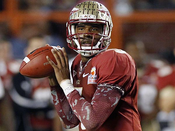 Florida State quarterback EJ Manuel (3) looks to pass during the first<br />half of the Orange Bowl NCAA college football game against  Northern<br />Illinois, Tuesday, Jan. 1, 2013, in Miami. (AP Photo/Alan Diaz)