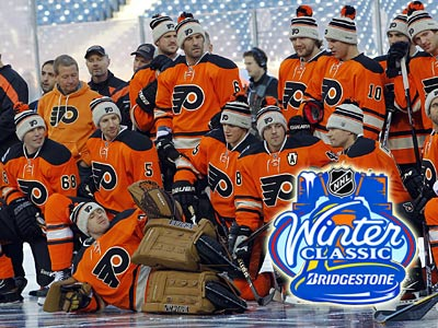 The Flyers take on the Rangers in the 2012 NHL Winter Classic. (AP Photo/Tom Mihalek)