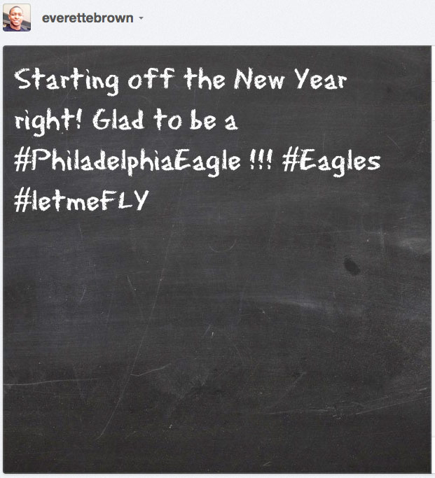New Eagle Everette Brown takes to Instagram to voice excitement…