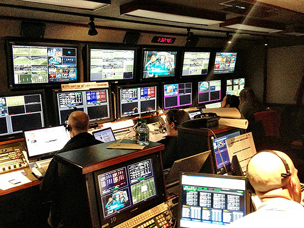 A look inside the heart of NBC´s Sunday Night Football graphics production truck, part of the network´s large operation that broadcasts NFL games. (Photo courtesy of NBC Sports)