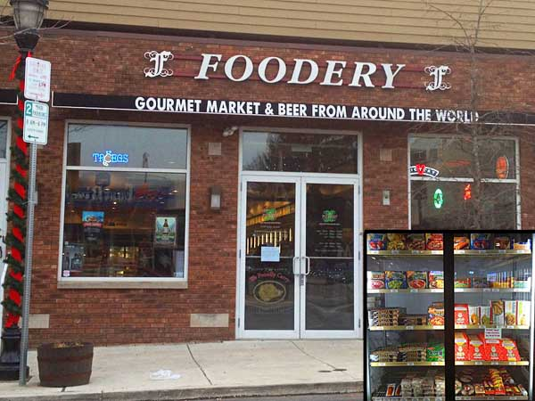For a booze-and-snacks deli, the Foodery on Ridge Avenue  has a surprisingly wide selection (inset) of vegetarian and vegan convenience foods in addition to its array of craft beers. (Photo: Vance Lehmkuhl / Staff)
