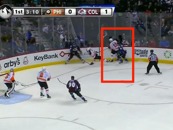Highlighted: Flyers forward Michael Raffl´s body position less than a second prior to contact from Colorado´s Gabriel Landeskog late in the first period on Thursday night at Pepsi Center. Credit: Frank Seravalli / Philadelphia Daily News still frame using NHL´s Game Center Live platform. (Courtesy of Frank Seravalli)