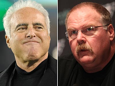 Andy Reid will return to coach the Eagles next season, owner Jeffrey Lurie announced. (Staff and AP Photo)