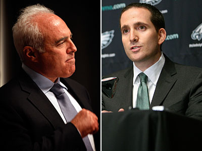 "Jeffrey Lurie called Howie Roseman one of the ""brightest young guys in the league,"" (Staff and AP photos)"