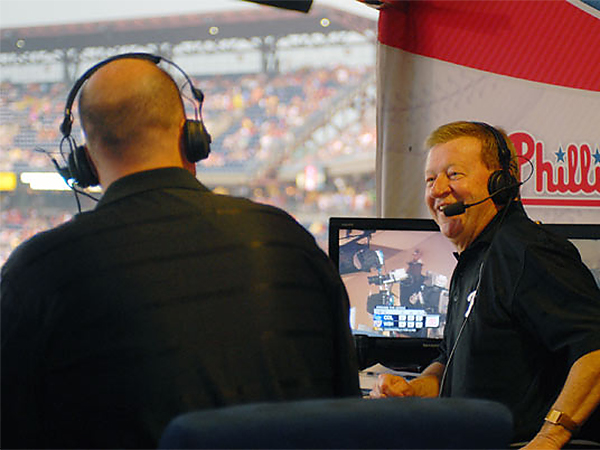 Tom McCarthy and Chris Wheeler in the Phillies´ broadcast booth at Citizens Bank Park. (Jarid Barringer/Staff file photo)
