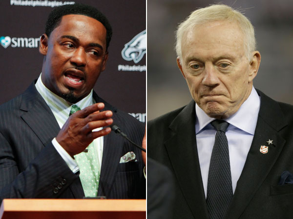 Former Eagles safety Brian Dawkins and Cowboys owner Jerry Jones. (Joseph Kaczmarek/AP file) (Tim Sharp/AP)