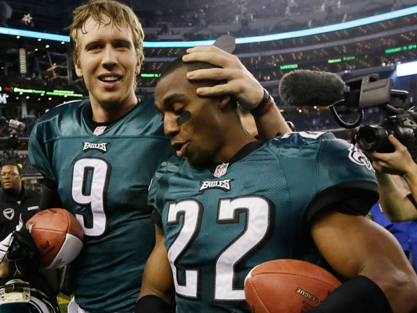 Eagles quarterback Nick Foles (9) and cornerback Brandon Boykin (22). (Tony Gutierrez/AP)