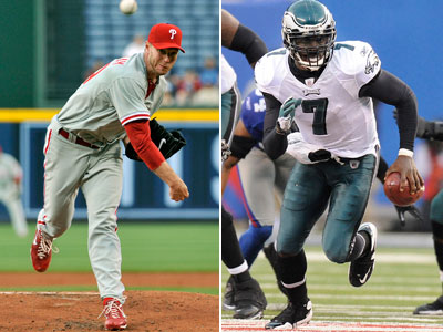 Heading into the postseason, can Michael Vick fight off the injuries and perform like Roy Halladay did? (Staff & AP Photo)