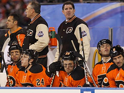 Peter Laviolette and the Flyers fell to the Rangers, 3-2, in the 2012 Winter Classic. (Ron Cortes/Staff Photographer)