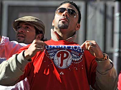 "Phillies reliever J.C. Romero is pictured during the World Series parade. He faces a 50-game suspension for being ""negligent"" in not knowing what was in a supplement he took. (Clem Murray / File photo)"