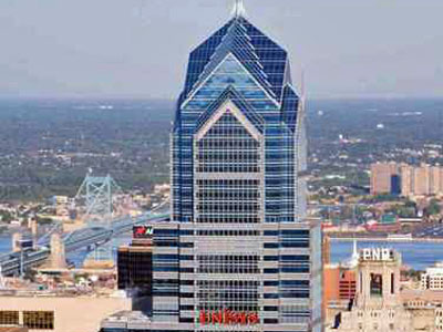 An artist´s rendering of what UNISYS´ logo would have looked like if it had moved its headquarters to the west side of Liberty Place Two in Philadelphia. The company announced its staying put in Blue Bell because its signage was rejected by the city.