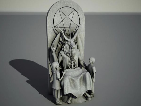 "According to The Satanic Temple´s application, the proposed monument features a large pentagram and ""a 7-foot tall goat-headed Baphomet that sits cross-legged flanked by a child on both sides. The lap will serve as a seat for visitors."" (Illustration courtesy of The Satanic Temple)"