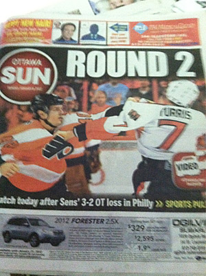 The cover of today´s Ottawa Sun.