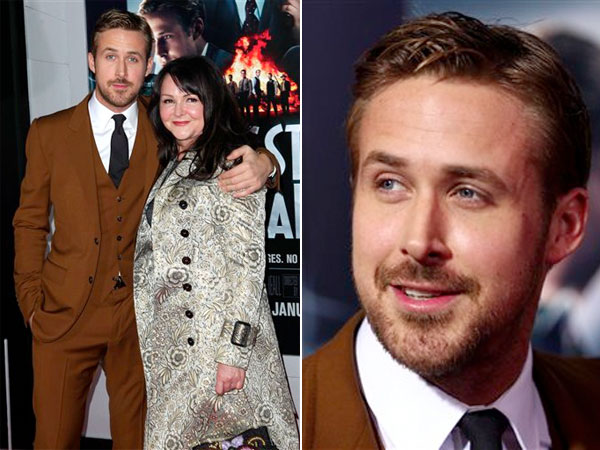 "Cast member Ryan Gosling, left, and his mother Donna attend the LA premiere of ""Gangster Squad"" at the Grauman´s Chinese Theater on Monday, Jan. 7, 2013, in Los Angeles. (Photo by Matt Sayles/Invision/AP)"