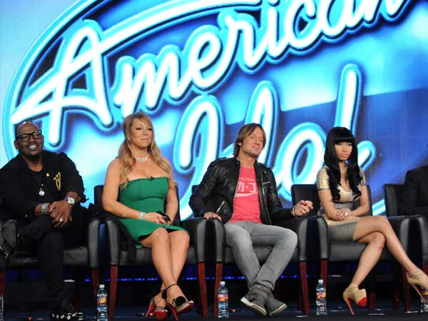 (L-R) Judges Randy Jackson, Mariah Carey, Keith Urban, and Nicki Minaj, and host Ryan Seacrest during the AMERICAN IDOL session at the 2013 FOX WINTER TCA on Tuesday, Jan. 8 at the Langham Hotel in Pasadena CA.  CR: Frank Micelotta/FOX