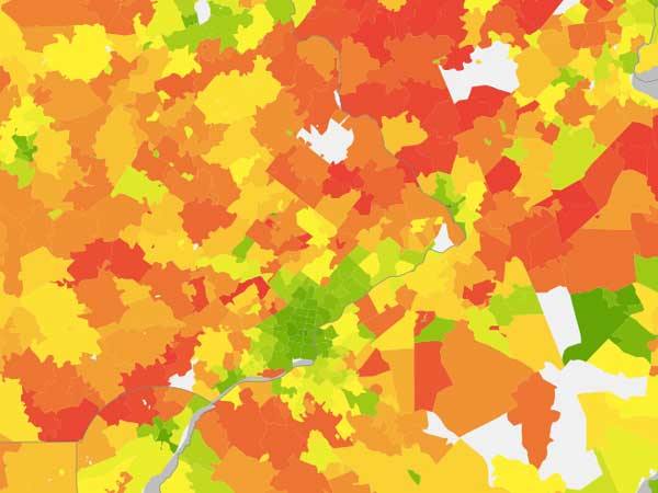 This UC Berkeley CoolClimate Network map shows the average carbon footprint per household for Philadelphia-region zip codes. Green areas have the smallest carbon footprints, while red areas have the greatest emissions.
