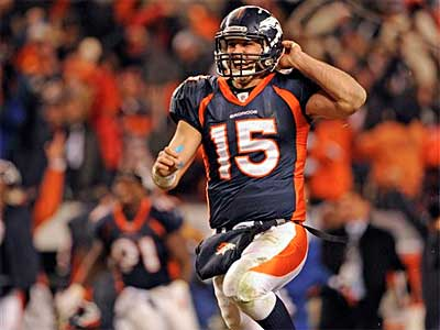 Like it or not, Denver Broncos quarterback Tim Tebow was the story of wild-card weekend. (Aaron Ontiveroz/AP)