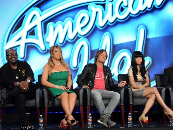 (L-R) Judges Randy Jackson, Mariah Carey, Keith Urban, and Nicki Minaj, and host Ryan Seacrest during the AMERICAN IDOL session at the 2013 FOX WINTER TCA on Tuesday, Jan. 8 at the Langham Hotel in Pasadena CA. (Photo: Frank Micelotta / FOX)