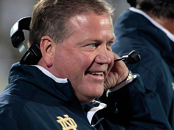 The latest big name on the team's radar is Brian Kelly. The Eagles are interested in the 51-year-old Notre Dame coach and have made overtures to Kelly, two NFL sources said. (Al Goldis/AP file photo)