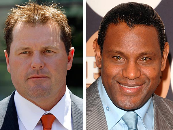"At left, in a July 14, 2011 file photo, former Major League baseball pitcher Roger Clemens leaves federal court in Washington. At right in a May 13, 2009 file photo, former baseball player Sammy Sosa attends the People En Espanol ""50 Most Beautiful"" gala in New York. Baseball´s all-time home run king and its most decorated pitcher likely will be shut out of the Hall of Fame when the vote is announced in January 2013. An AP survey shows that Bonds and Clemens, as well as Sammy Sosa, don´t have enough votes to get into Cooperstown. (AP Photo/File)"
