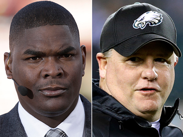 Keyshawn Johnson (left) and Chip Kelly (right). (AP Photos)