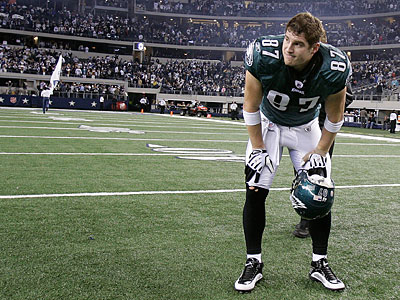 Brent Celek watches as the Cowboys celebrate a 34-14 victory over the Eagles Jan. 9. (David Maialetti / Staff file photo)<br />