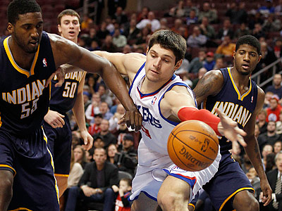 Sixers rookie Nik Vucevic will see more playing time tonight with Spencer Hawes sidelined. (Yong Kim/Staff Photographer)