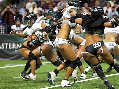 Jenny Butler and the Passion were held to 66 yards rushing in their 28-6 loss to the Temptation in Lingerie Bowl IX. (Photo courtesy of LFL Photos)
