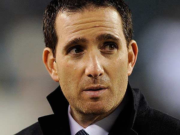 Howie Roseman watches warm ups before an NFL football game against the Cincinnati Bengals, Thursday, Dec. 13, 2012, in Philadelphia. (Michael Perez/AP)