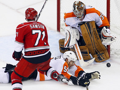 Goalie Sergei Bobrovsky made 36 saves in the Flyers´ 2-1 win on Tuesday. (AP Photo/Karl B DeBlaker)