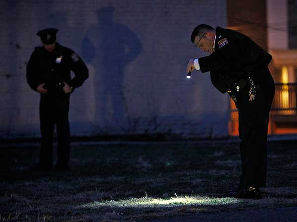 Philadelphia police investigate a shooting with an alleged semi-automatic assault rifle along the 5300 block of Euclid Street early Friday, Jan. 11, 2013. (Alejandro A. Alvarez / Staff Photographer)