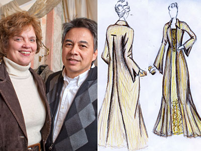 Susan Corbett and designer Richard Andries. Sketches by Nora Noone of Corbett&acute;s inaugural gown. (Ed Hille / Staff Photographer)