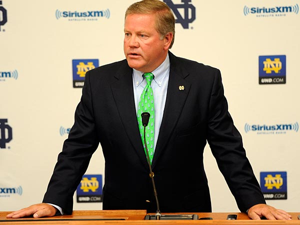 Notre Dame football coach Brian Kelly talks to the media August 3, 2012 in South Bend, Ind. (AP Photo/Joe Raymond)