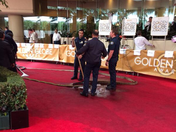 "Several photos of the disgusting spill were posted to Twitter by the likes of Ryan Seacrest and Cosmopolitan magazine. ""Huge water leak on #goldenglobes red carpet...Bev Hills fire trying to clean up,"" Seacrest tweeted at about 5 p.m. (Photo: Ryan Seacrest via Twitter)"