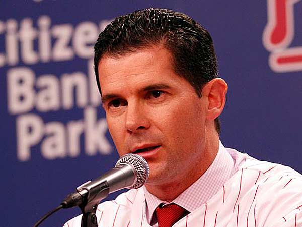 Phillies news third baseman Michael Young answers questions from the<br />media at Citizens Bank Park on Tuesday, December 18, 2012. (Yong Kim/Staff Photographer)