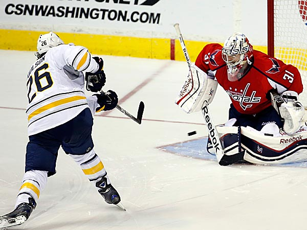 Capitals goalie Philipp Grubauer stops a shot by Sabres left wing Matt Moulson. (Alex Brandon/AP)