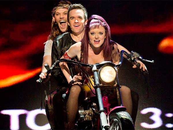"Performing in the musical ""We Will Rock You"" at the Academy of Music will be (from left) Ryan Knowles, Brian Justin Crum, and Ruby Lewis."
