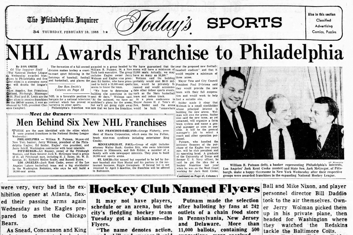 "From 1966, Inquirer coverage of Philadelphia being awarded an NHL franchise and then adopting the name ""Flyers."""