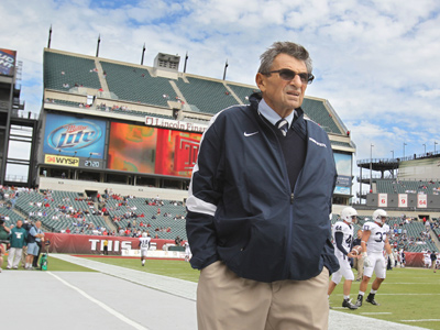 Joe Paterno in September, during his last season as Penn State head coach. Many alumni continue to mourn his ouster. (Charles Fox / Staff Photographer)