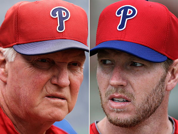 Former Phillies manager Charlie Manuel (left) and former Phillies ace Roy Halladay (right). (AP file photos)