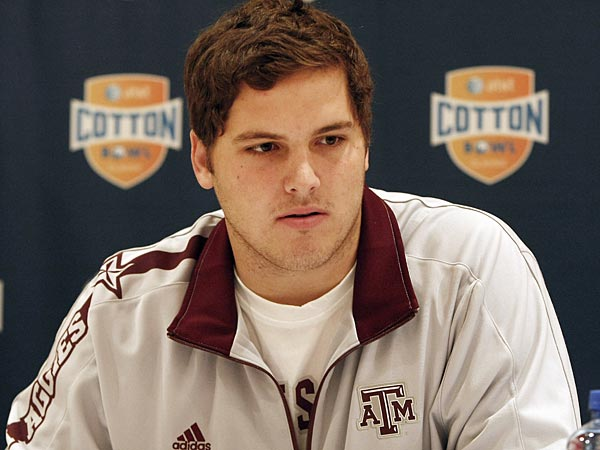 Texas A&M junior offensive lineman Luke Joeckel answers questions during a press conference for the Cotton Bowl NCAA college football at the Omni Mandalay hotel, Tuesday, Jan. 1, 2013, in Irving, Texas. Texas A&M plays Oklahoma on Jan. 4 in the Cotton Bowl in Arlington, Texas. (AP Photo/Brandon Wade)