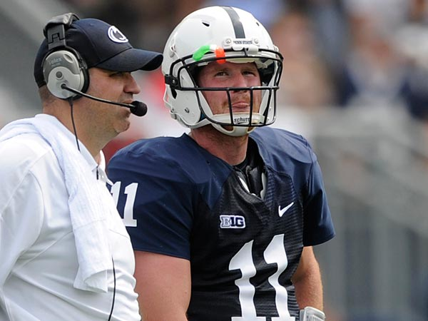 Penn State coach Bill O&acute;Brien talks to quarterback Matt McGloin during<br />the game against Ohio University at Beaver Stadium in State College,<br />Pennsylvania, Saturday, September 1, 2012. Ohio defeated Penn State,<br />14-24. (Nabil K. Mark/Centre Daily Times/MCT)