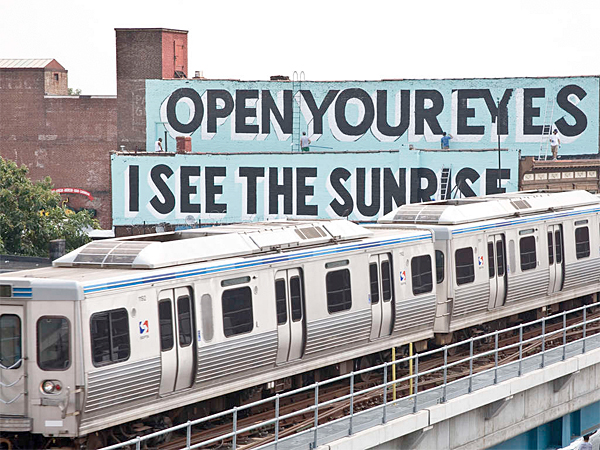 """Pictured is one of the 50 murals by Steve Powers as part of the """"A Love Letter For You"""" project in West Philadelphia. (Adam Wallacavage / Mural Arts Program)"""