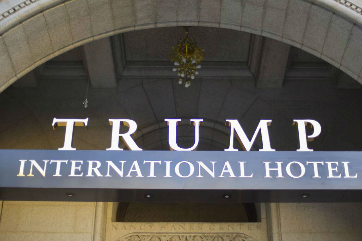 FILE - This Sept. 12, 2016, file photo, shows the exterior of the Trump International Hotel in downtown Washington. More than 60 groups, including foreign governments, political campaigns and business organizations, spent money at Trump-branded properties across the U.S. last year, according to a report Tuesday by a watchdog group that has long been critical of how such spending could be used to influence the president.