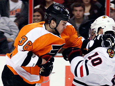 Zac Rinaldo will miss Tuesday´s game after sustaining a blow to the head in practice Monday. (Yong Kim/Staff Photographer)