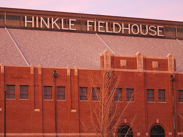 Hinkle Fieldhouse at dusk. It is a kindred spirit to the Palestra. (Jonathan Tannenwald/Philly.com)
