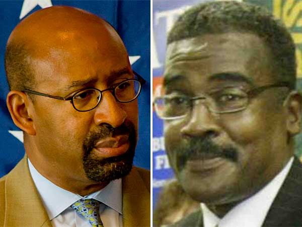 "Philadelphia Mayor Michael Nutter (left) and Herman ""Pete"" Matthews (right), president of AFSCME District Council 33. (File photos)"