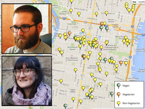 VegPhilly.com founders Steve Lamb (inset, top) and Alexandra Hoefinger (inset, bottom) created the site and its map to make finding vegan-friendly restaurants around town easier.