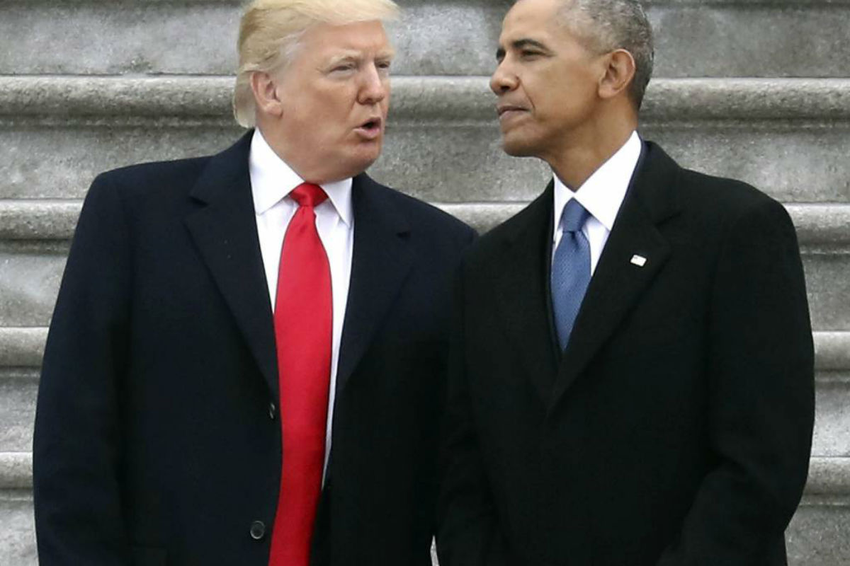 FILE - In this Friday, Jan. 20, 2017, file photo, President Donald Trump talks with former President Barack Obama on Capitol Hill in Washington, prior to Obama´s departure to Andrews Air Force Base, Md. Trump relentlessly congratulates himself for the healthy state of the U.S. economy. But in the year since Trump´s inauguration, most analysts tend to agree on this: The economy remains essentially the same sturdy one he inherited from Obama.