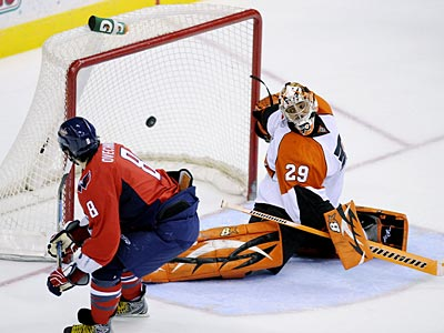 Ray Emery stopped only 17 of the 22 shots he faced against the Capitals. (Nick Wass/AP)